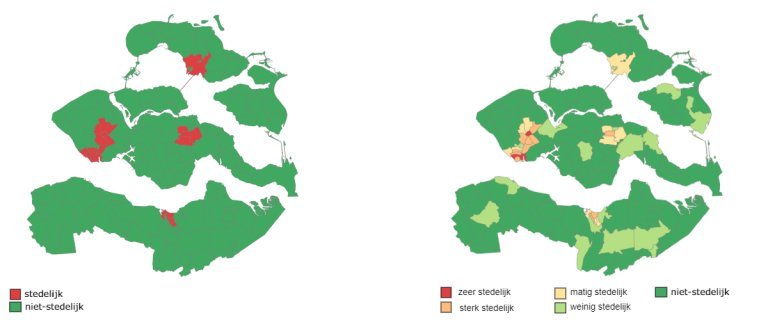 Figuur 4.1: Mate van stedelijkheid in Zeeland per 4-cijferige postcode (2019)